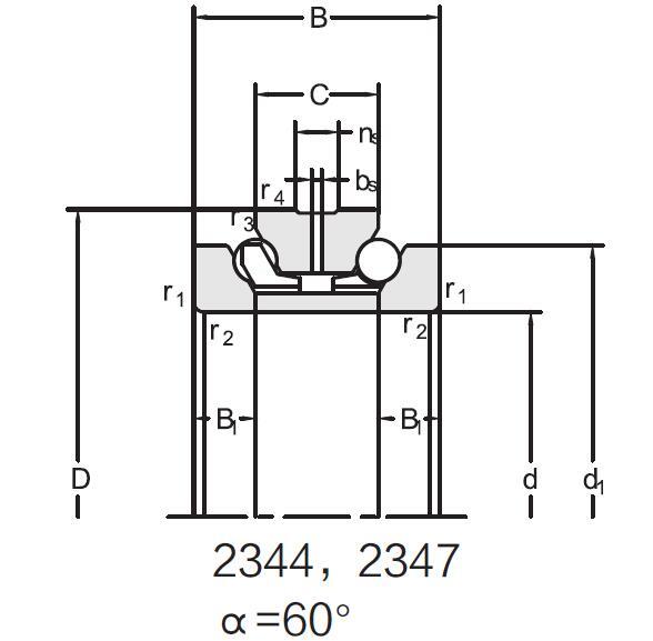 Double direction angular contact ball bearing